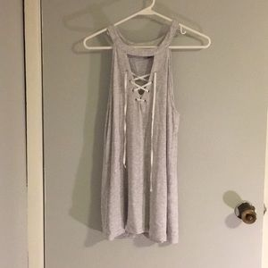 Grey lace up tank top size M